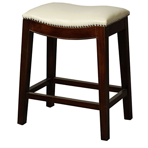 Classic Saddle Wooden Legs Backless Counter Height Barstool Beige Leather Seat