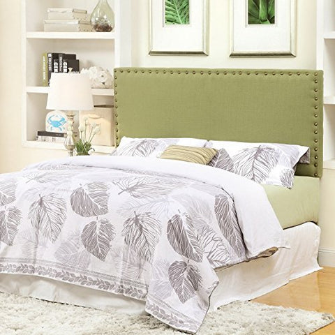 Modern Upholstered Padded Green Apple Linen Fabric Queen Headboard with Antique Brass Nailheads