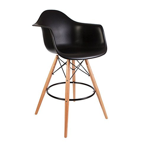 ModHaus Mid Century Modern Eames DAW Style Black Counter Stool Chair with Dowel Wood Base HIGH QUALITY Satin Finish