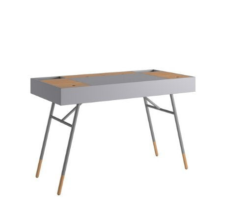 Modern Retro Two Toned 4 Compartment Writing Desk with Tapered Legs  (Gray)