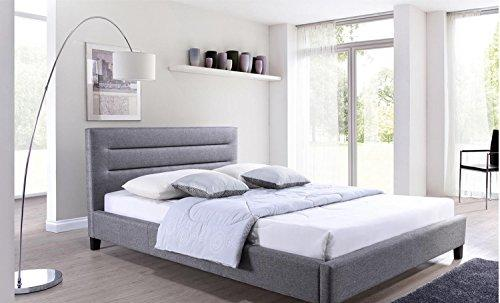 Modern Low Profile Gray Linen Upholstered Queen Platform Bed with Headboard
