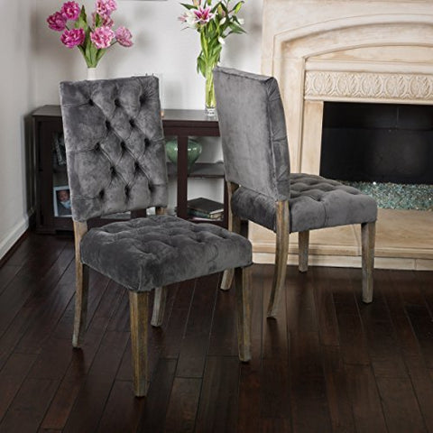 Super Rustic Modern Velvet Upholstery Tufted High Back Set Of 2 Accent Dining Chairs With Oak Wood Legs Gray Ncnpc Chair Design For Home Ncnpcorg