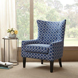 Contemporary Blue and White Moroccan Print Upholstered Button Tufted Wingback Accent Armchair with Dark Wood Legs