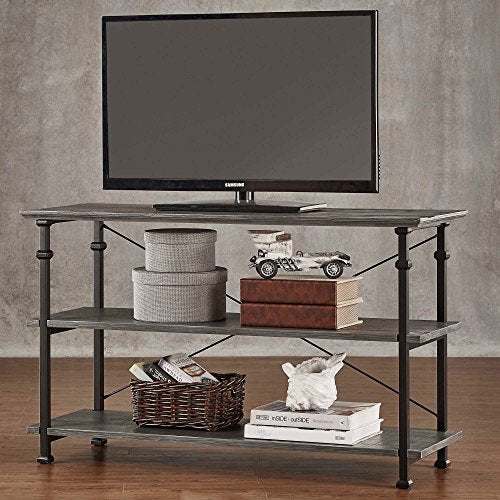 ModHaus Modern Industrial Gray Rustic Wood and Metal TV Stand - for Televisions up to 48 inches