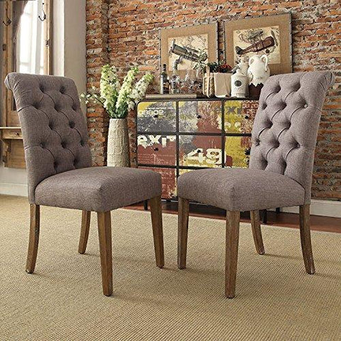 Modern Gray Linen Button Tufted Parsons Style Dining Chairs | Wooden Brown Legs - Set of 2