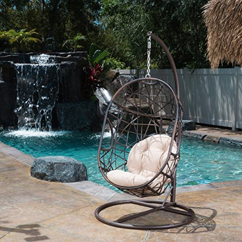 Modern Metal Egg Wicker Chair Swing with Plush Cushion and Metal Base
