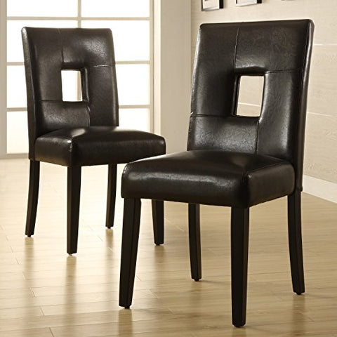 Modern Black Faux Leather Square Keyhole Dining Chairs with Black Finish Wood Legs - Set of 2