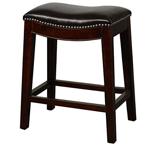 Classic Saddle Wood Legs Backless Counter Height Barstool with Leather Seat - (Black)