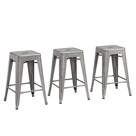 Cool Modern Backless French Bistro Tolix Style Metal Kitchen Stools Counter Height Silver Finish 24 Inch High Set Of 3 Ibusinesslaw Wood Chair Design Ideas Ibusinesslaworg