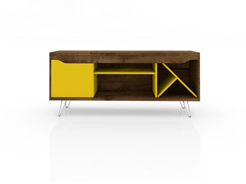 Modern TV Stand with Wine Rack and  Metal Legs in Rustic Brown and Yellow