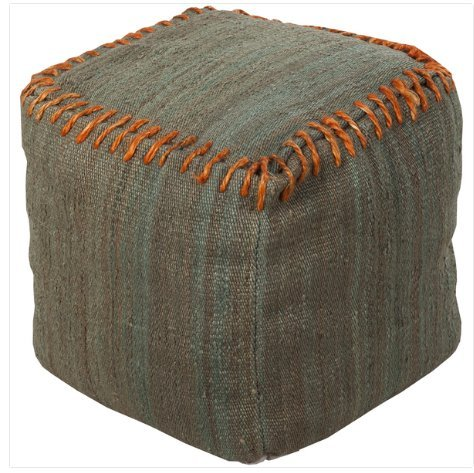 Contemporary 18 Inch Square Pouf  (Green)