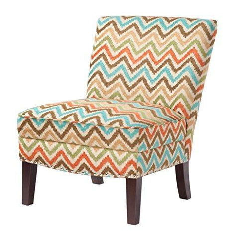 Contemporary Orange Green Blue Brown Chevron Print Upholstered Armless Accent Chair with Nailhead Trim and Dark Wood Legs