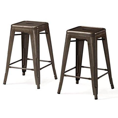 Set of 2 Bronze French Bistro Tolix Style Metal Counter Stools in Glossy Powder Coated Finish