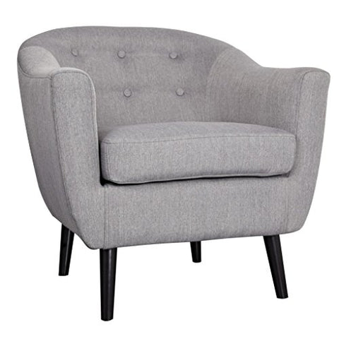 ModHaus Retro Mid Century Style Grey Button-Tufted Upholstered Accent Armchair with Espresso Legs