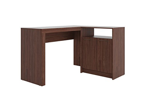 Contemporary L Shaped Office Desk with 2 Door and Shelves (Dark Brown)