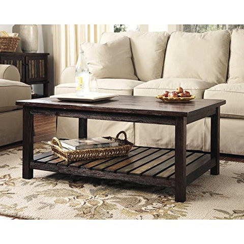 Vintage Casual Rustic Design Wood Coffee Cocktail Accent Table in Espresso Finish