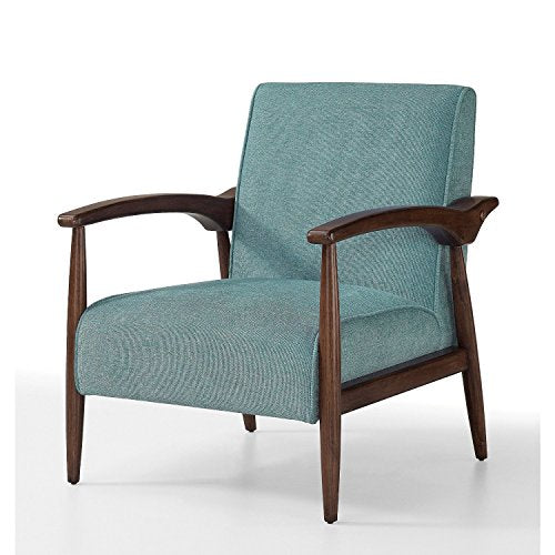 ModHaus Mid Century Accent Chair Teal Blue Upholstery with Brown Wood Frame and Legs