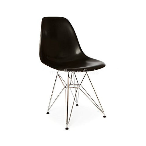ModHaus Mid Century Modern Black DSR Chair with Eiffel Chrome Steel Base - Inspired by Eames Design - HIGH QUALITY Satin Finish