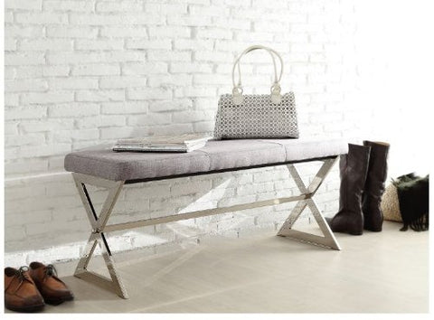 Modern Gray Fabric Upholstered and Chrome X Base Accent Bench Ottoman Seating Footrest