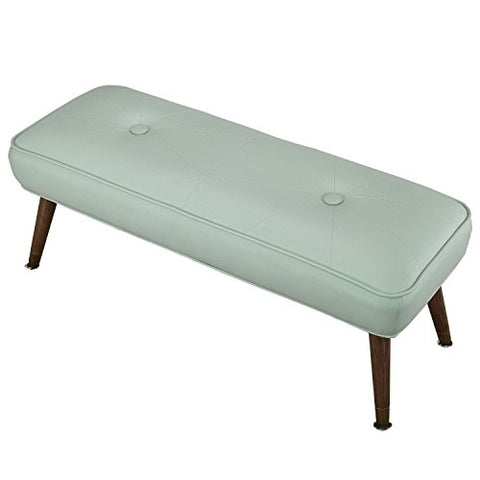 ModHaus Mid Century Modern Danish Retro Button Tufted Aqua Leather Bench with Wood Dowel Legs