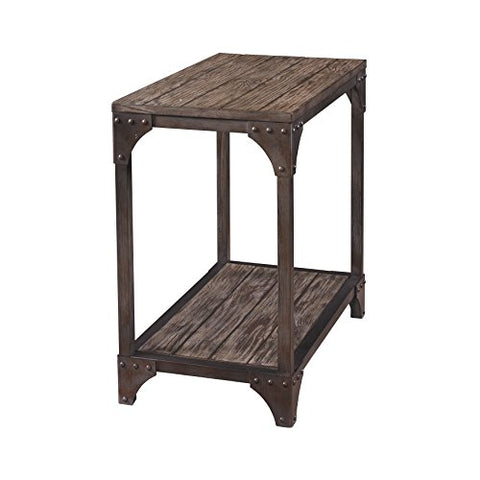 Industrial Modern Reclaimed Wood Accent End Side Table with Lower Shelf and Metal Base