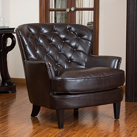 Mid Century Style Brown Leather Button-tufted Upholstered Accent Armchair with Espresso Legs and Metal Nailhead Trim