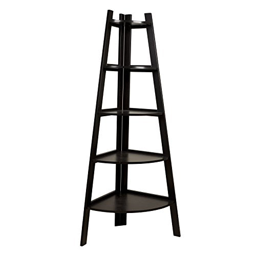 Contemporary Solid Wood 5 Tier Ladder Display Bookshelf in Dark Brown Espresso Finish