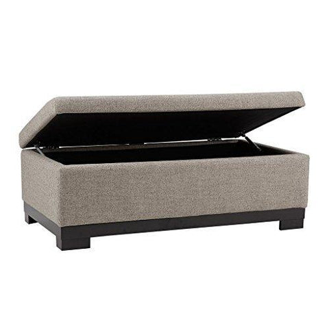 Modern Gray Fabric Upholstery Storage Ottoman Storage Bench with Wood Legs
