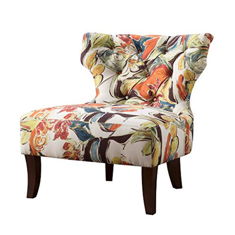 Contemporary Orange Green Blue Multi Color Floral Abstract Print Upholstered Armless Accent Chair with Dark Wood Legs