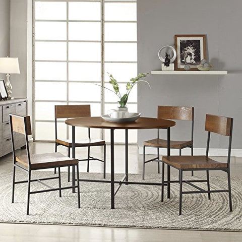 Modern Rustic Country Style Wood Accent 5 Piece Dining Set | Textured Black  Metal Frame