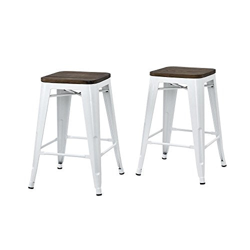 Set of 2 White Tolix Style Metal Counter Stools with Wood Seat in Glossy Powder Coated Finish