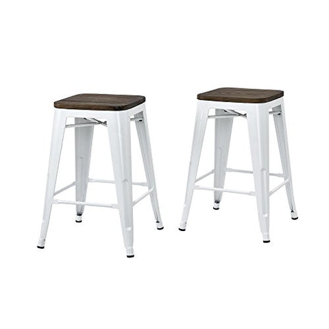 Marvelous Set Of 2 White Tolix Style Metal Counter Stools With Wood Seat In Glossy Powder Coated Finish Pabps2019 Chair Design Images Pabps2019Com