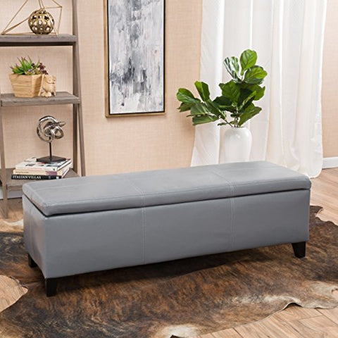 Modern Faux Leather Upholstery Storage Bench with Solid Wood Frame  (Gray)