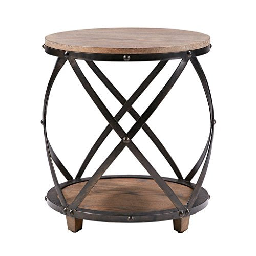 Industrial Modern Reclaimed Wood Round Side Accent end Table with Bottom Shelf