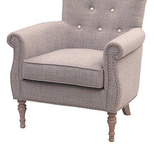 Contemporary Taupe Upholstered Button Tufted Accent Armchair with Naildhead Trim and Light Wood Legs