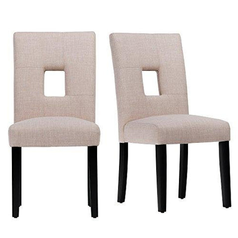 Modern Beige Linen Square Keyhole Dining Chairs | Black Finish Wooden Legs - Set of 2
