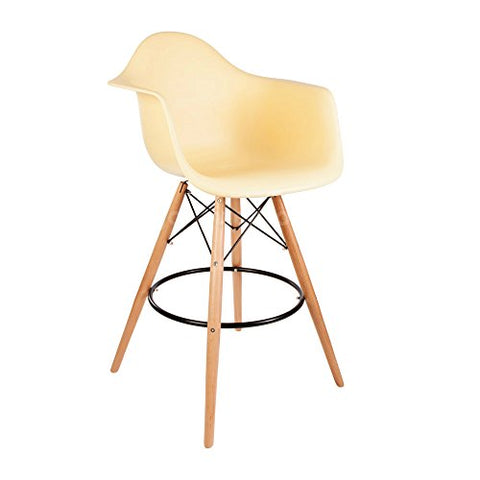 ModHaus Mid Century Modern Eames DAW Style Beige Counter Stool with Dowel Wood Base HIGH QUALITY Satin Finish