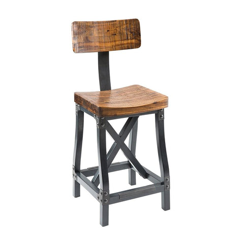 c75c08f8c1e20 Industrial Rustic Modern Acacia Wood Counter Height Bar Stools with Back