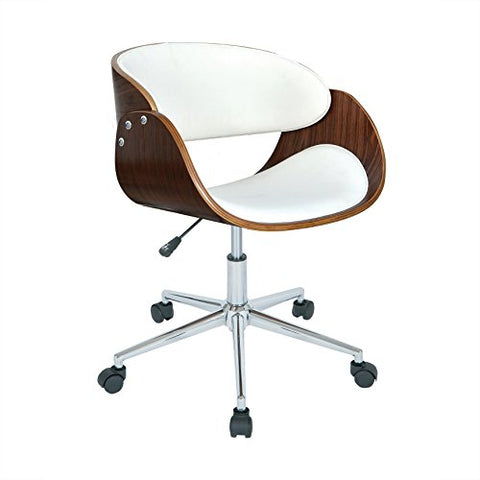 Modern Wood Faux Leather Upholstery Seat Office Chair with Chrome Finish Base (White)