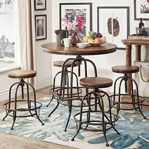Modern Rustic Industrial Round Counter Height Pub Adjustable Dining Set in Brown Finish - 1 Table with Backless Stools