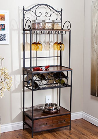 French Scroll Rustic Narrow Bakers Rack in Metal and Wood with Drawer, Built-in Wine Rack and Wine Glass Storage