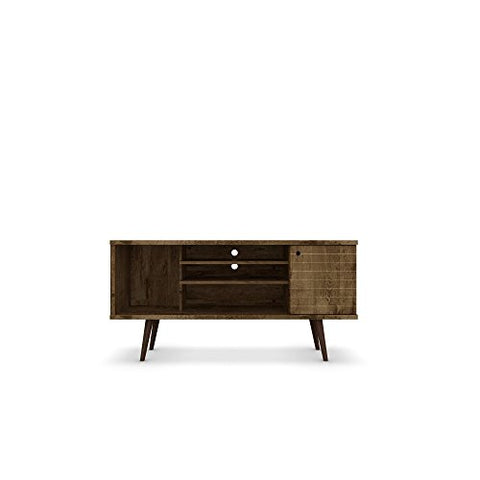 Modern Transitional Solid Wood 5 Shelf Single Door TV Stand with Flared Legs (Brown - Matte)