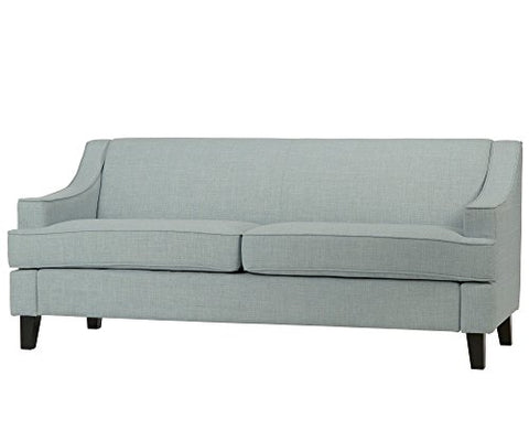Modern Light Blue Linen Fabric Swoop Arm Sofa