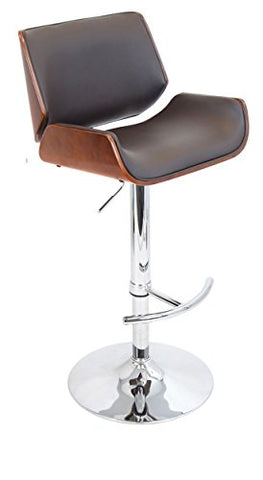 Remarkable Mid Century Modern Retro Style Swivel Wooden Adjustable Barstool Counter Height With Curved Back Metal Pedestal Base Walnut Finish Cherry With Gmtry Best Dining Table And Chair Ideas Images Gmtryco