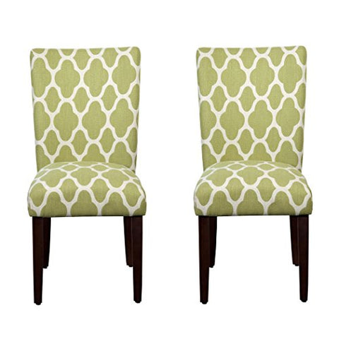 Modern Transitional Geometric Print Upholstered Set of 2 Dining Chair with Wood Legs