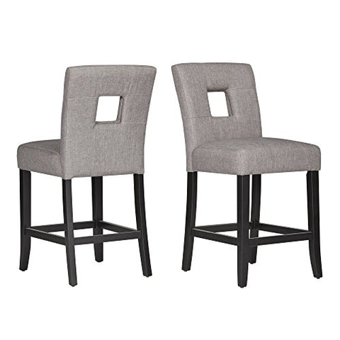 Super Modhaus Gray Linen Modern Square Keyhole Counter Height Stools Black Finish Wood Legs Set Of 2 Gamerscity Chair Design For Home Gamerscityorg