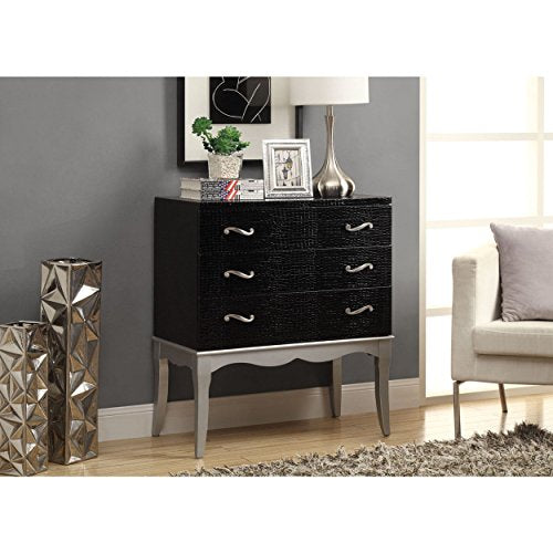 Contemporary Style Crocodile Texture Black Bombay Chest with 3 Drawers | Wood Legs Faux Leather Body