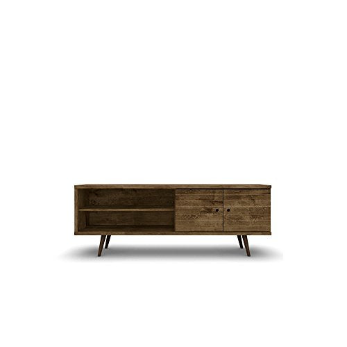 Mid Century Modern 62.99 Inch TV Stand Storage with 3 Shelves 2 Doors and Solid Wood Legs (Rustic Brown)