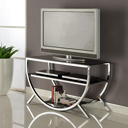 Contemporary TV Stand with 2 Black Glass Shelves and Half Circle Stand in Chrome Finish