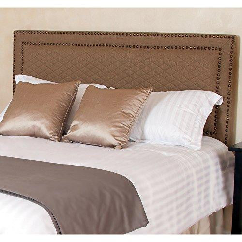 Modern Upholstered Padded Beige Tan Linen Fabric Queen Headboard with Copper Nailheads